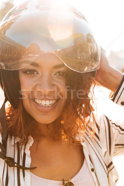 Dikey görüntü mutlu Afrika kadın Stok fotoğraf © deandrobot