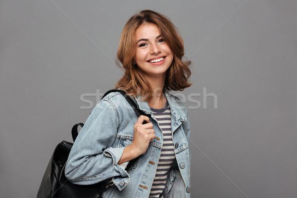 Photo stock: Portrait · souriant · jeunes · adolescente · denim · veste