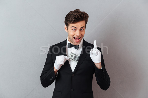 молодые официант деньги Идея Сток-фото © deandrobot