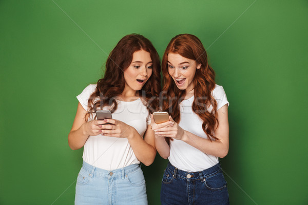 Portrait of two cute women with red hair using cell phones with  Stock photo © deandrobot