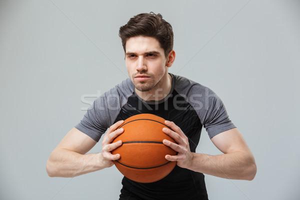 Portret gericht jonge spelen basketbal Stockfoto © deandrobot