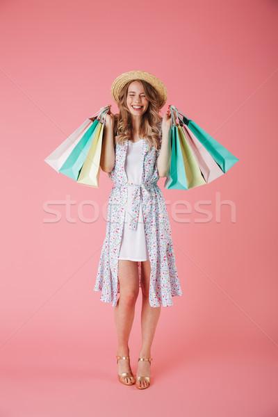 肖像 満足した 若い女性 夏 ドレス ストックフォト © deandrobot