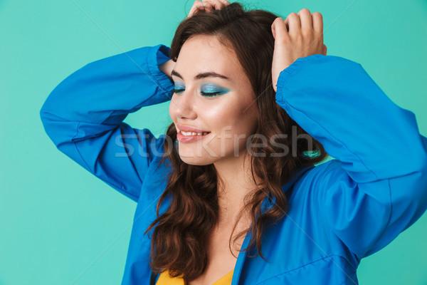 Fotó gyönyörű barna hajú nő 20-as évek visel Stock fotó © deandrobot