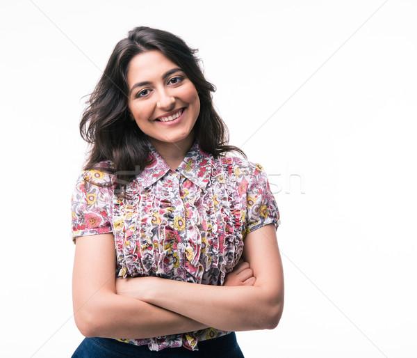 Heureux femme permanent bras pliées isolé Photo stock © deandrobot