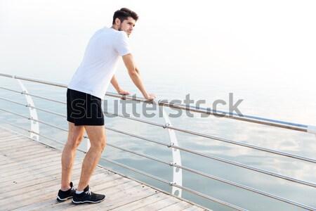 Tam uzunlukta portre spor adam ayakta açık havada Stok fotoğraf © deandrobot