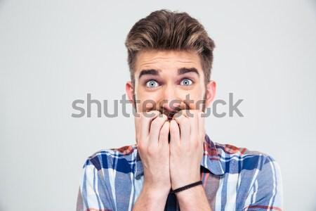 Ritratto paura casuale uomo guardando fotocamera Foto d'archivio © deandrobot