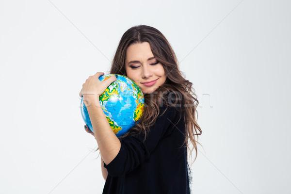 Stockfoto: Portret · gelukkig · cute · vrouw · wereldbol