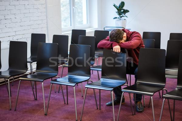 疲れ 若い男 会議室 男 学生 ストックフォト © deandrobot