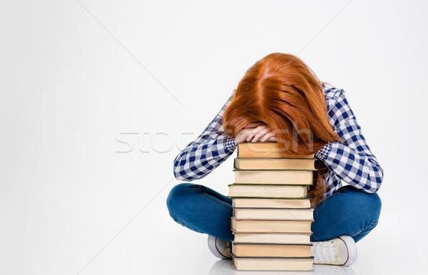 исчерпанный женщину голову книгах спальный Сток-фото © deandrobot