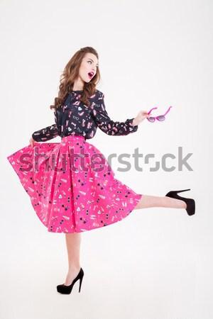 çekici mutlu kadın yüksek topuklu ayakkabı ayakta Stok fotoğraf © deandrobot