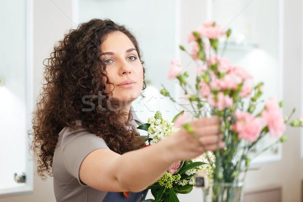 красивой концентрированный флорист букет Сток-фото © deandrobot