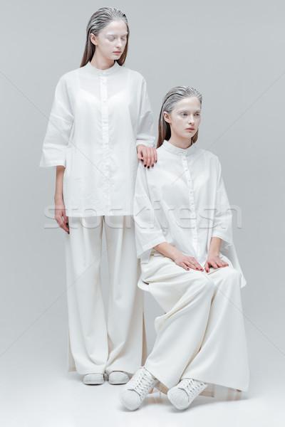 две женщины белый моде одежды серый волос Сток-фото © deandrobot