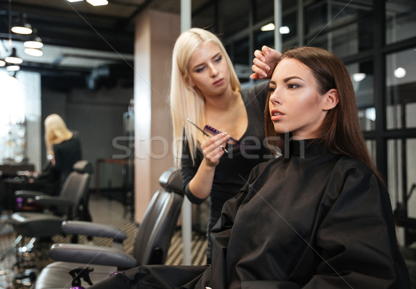 Female hairdresser standing and making hairstyle to woman in salon Stock photo © deandrobot
