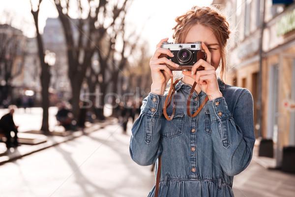 濃縮された 女性 写真 屋外 古い ストックフォト © deandrobot