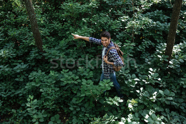 From above photo of man in forest Stock photo © deandrobot
