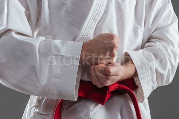 Cropped image of sportsman gesture with hand Stock photo © deandrobot
