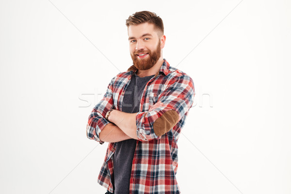 肖像 幸せ カジュアル 男 立って 腕 ストックフォト © deandrobot