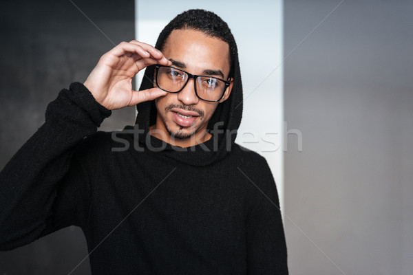 Stock photo: Portrait of attractive african american young man in glasses