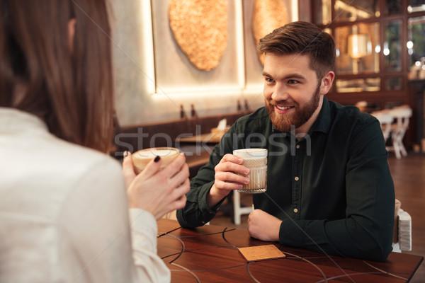 Stockfoto: Verbazingwekkend · jonge · liefhebbend · paar · vergadering · cafe