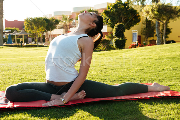 Flexible woman stretching and doing yoga exercises on lawn Stock photo © deandrobot