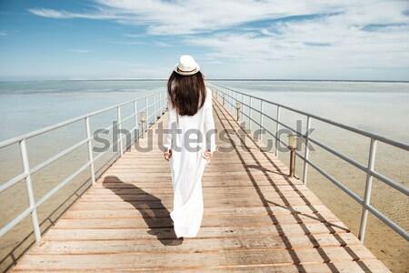 Widok z tyłu Fotografia młodych zdumiewający dziewczyna jacht Zdjęcia stock © deandrobot