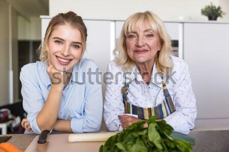 счастливым молодые Lady Домашняя кухня бабушки изображение Сток-фото © deandrobot