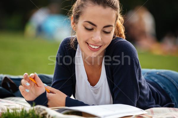 Közelkép portré fiatal csinos diák lány Stock fotó © deandrobot
