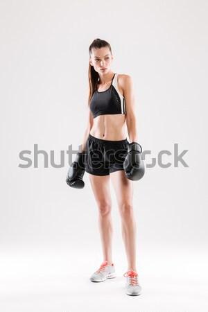 Portret gezonde bokshandschoenen permanente Stockfoto © deandrobot