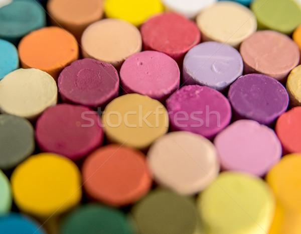 Közelkép színes fényes pasztell zsírkréták szelektív fókusz Stock fotó © deandrobot