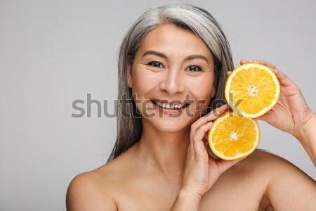 Stockfoto: Schoonheid · portret · gelukkig · half · naakt