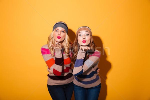 肖像 2 女の子 冬 服 立って ストックフォト © deandrobot