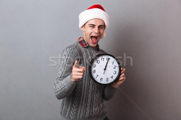 快樂 尖叫 男子 毛線衣 聖誕節 帽子 商業照片 © deandrobot