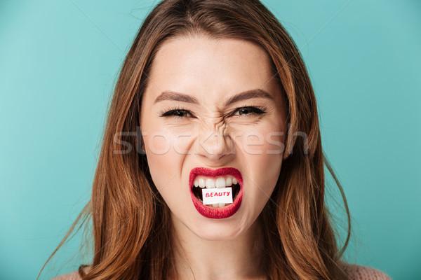 Közelkép portré mérges barna nő fényes Stock fotó © deandrobot