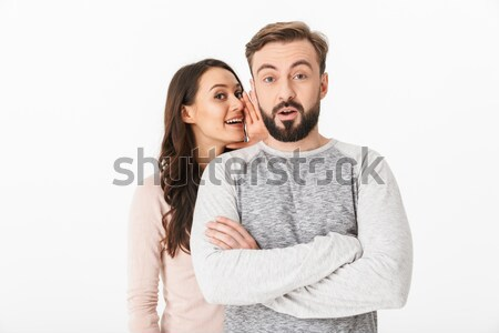 Happy young loving couple looking camera. Stock photo © deandrobot