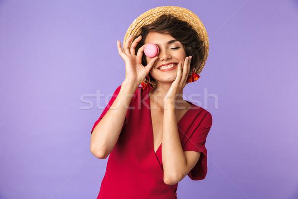 брюнетка женщину платье соломенной шляпе Сток-фото © deandrobot