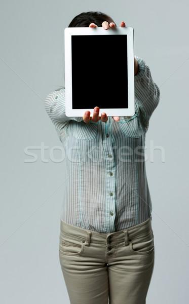 женщину экране серый компьютер Сток-фото © deandrobot