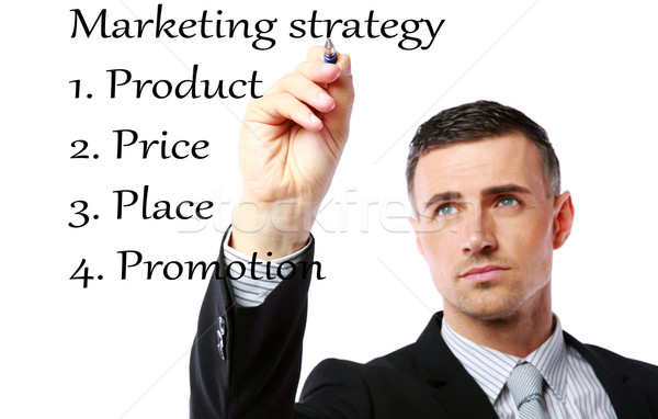 Biznesmen rysunek strategia marketingowa strony pióro farbują Zdjęcia stock © deandrobot