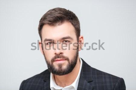 Zdjęcia stock: Portret · zamyślony · biznesmen · dotknąć · podbródek · szary