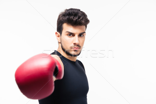 Male boxer hitting at camera Stock photo © deandrobot