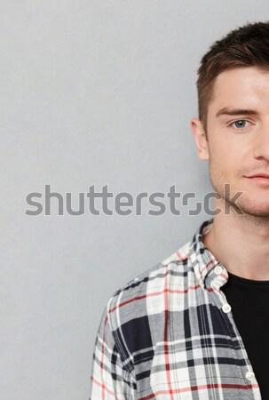 Homem lápis barba retrato engraçado isolado Foto stock © deandrobot