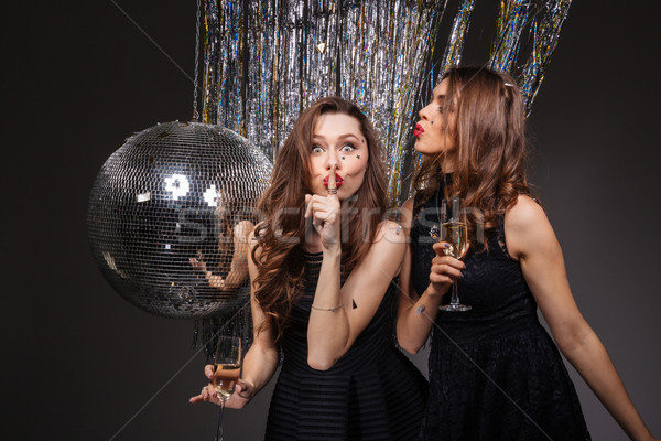 Two amusing women showing silence gesture and drinking champagne  Stock photo © deandrobot