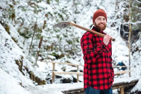 Smiling man doing selfie photo outdoors Stock photo © deandrobot