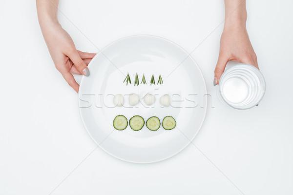 Szkła wody tablicy ogórek mozzarella zioła Zdjęcia stock © deandrobot