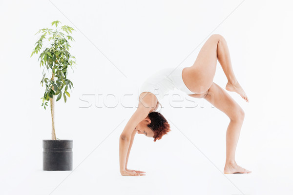 Attractive african american flexible woman doing backbend yoga pose Stock photo © deandrobot