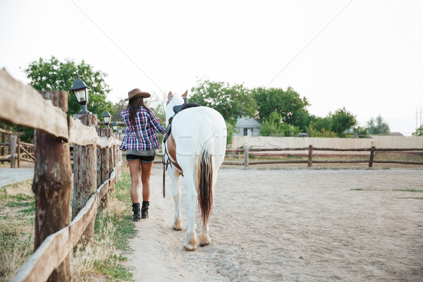 Back view of woman cowgirl walking with horse Stock photo © deandrobot