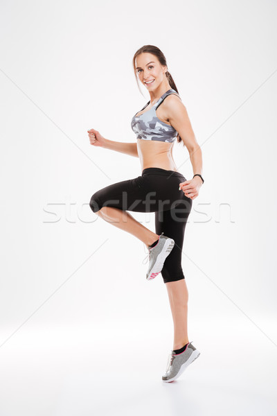 Teljes alakos aerobik nő tánc stúdió néz Stock fotó © deandrobot