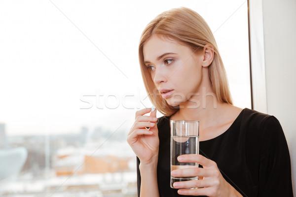 печально молодые Lady работник стекла Сток-фото © deandrobot