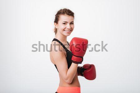 Fiatal boxoló nő áll izolált kép Stock fotó © deandrobot