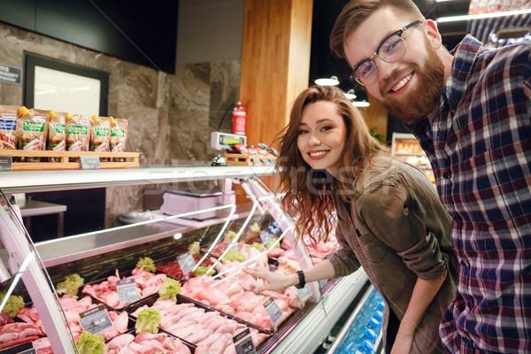вид сбоку пару Постоянный мяса борьбе счастливым Сток-фото © deandrobot