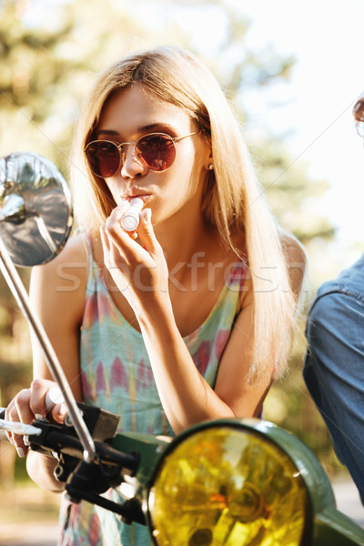 濃縮された 若い女性 座って スクーター 画像 屋外 ストックフォト © deandrobot